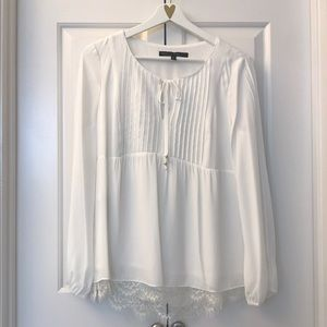 WHBM White Blouse Lined with Lace on Bottom